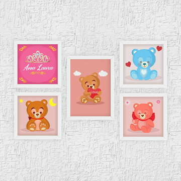 5 Quadrinhos Infantil Ursinhos c/ Nome Personalizado