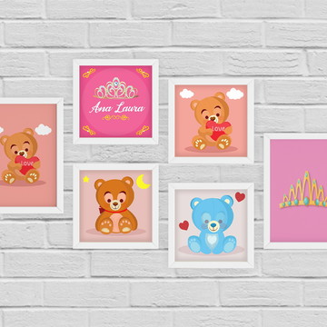6 Quadrinhos Infantil Ursinhos c/ Nome Personalizado