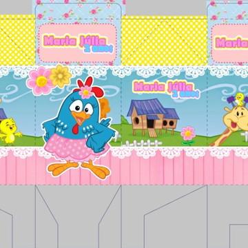arquivo de corte caixa milk galinha pintadinha menina , rosa