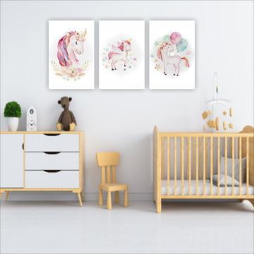 Kit 3 unidades placas decorativas Unicornio Menina
