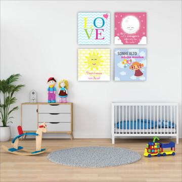 Placas decorativas Kit Sonhe alto Quarto Menina