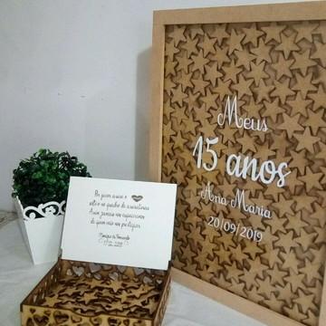 Quadro Assinaturas Casamento 150 estrelin+caixa Com Mensagem