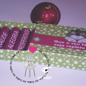 Lembrança Natal Caixa batom de chocolate