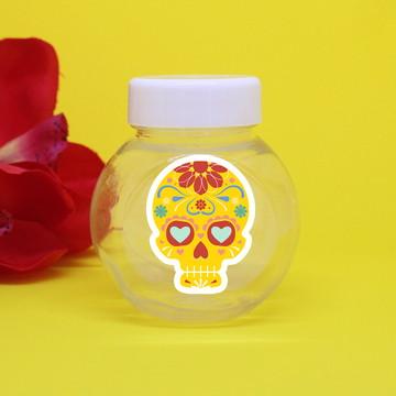 Baleiro de plástico com adesivo – caveira mexicana