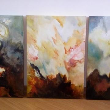 Quadro Abstrato Trio 70 x 50 cm