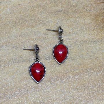 Brinco vermelho gota prateado bijuterias moda e acessorios