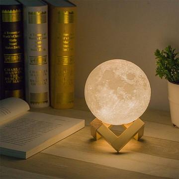 Luminária Lua Cheia 3d Led Recarregável Bateria 15cm Decora