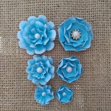 Flores scrapbook (kit BLUE)