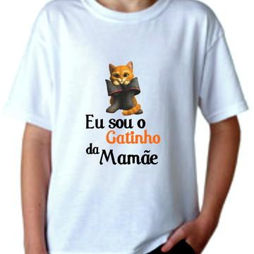 Camiseta Infantil, Eu sou o gatinho da mamãe