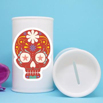 Cofrinho de plástico com adesivo – caveira mexicana