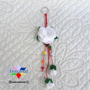 Chaveiro Flor com Pingentes em Feltro