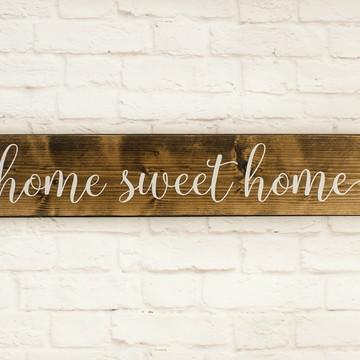 Placa Madeira Rustica Home Sweet Home
