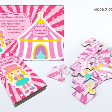 Convite quebra cabeça - Circo rosa