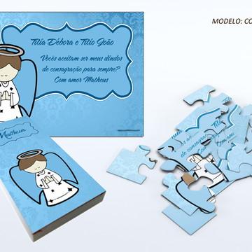 Convite quebra cabeça - Padrinhos de Batizado