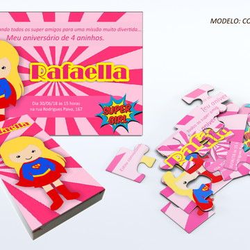 Convite quebra cabeça - Super Girl
