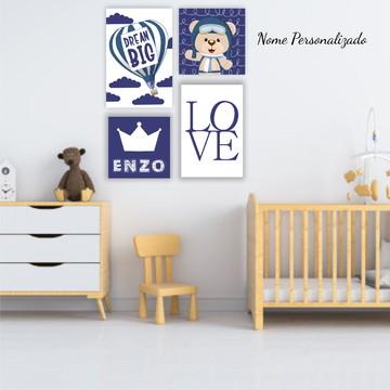 Kit Placas Decorativas Urso Aviador Quarto Menino Infantil
