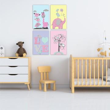 Placas Decorativas kit Animais Menina Quarto