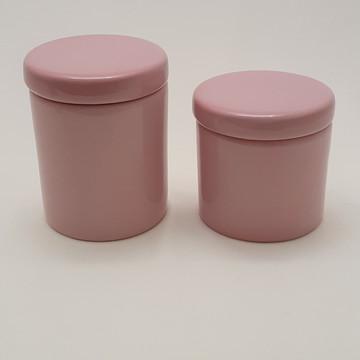 Potes porcelana cotonete algodao rosa