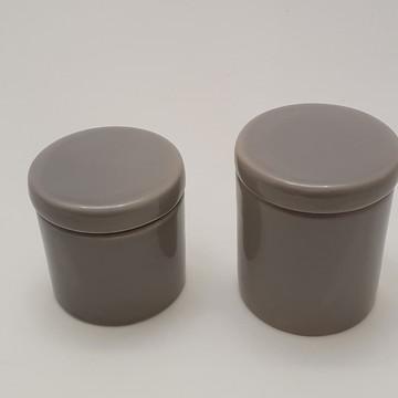 Potes porcelana cotonete algodao cinza