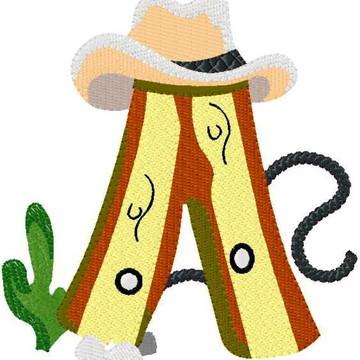 Matriz Bordado Alfabeto Cowboy Alegre