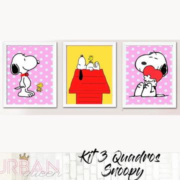 Kit 3 quadros Snoopy