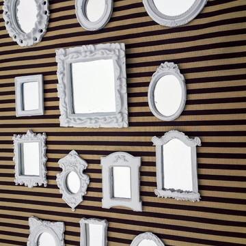 Kit Espelhos Decorativos em Resina Branco Laca Decoração