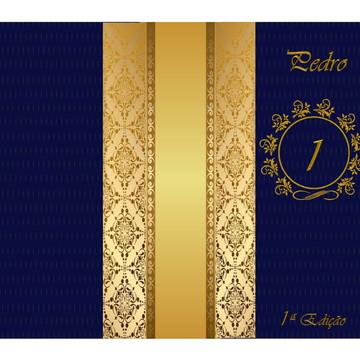 Convite infantil reinado azul e dourado menino