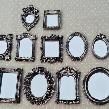 Kit 16 Mini Espelhos Decorativos Vintage Resina Prata Velha