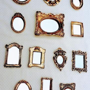 kit 13 Mini Espelhos Decorativos em Resina Ouro Velho