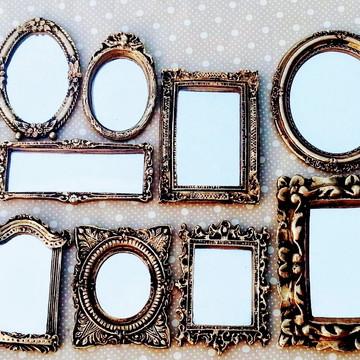 Kit 16 Mini Espelhos Decorativos em Resina Ouro Envelhecido