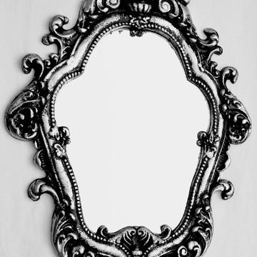 Espelho Decorativo Antique Prata Envelhecida em Resina