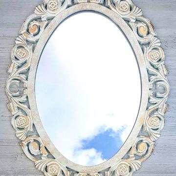 Espelho Decorativo Oval Rococó Ouro Provençal Decoração