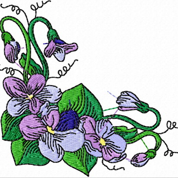 Matriz Bordado Violetas Arranjos