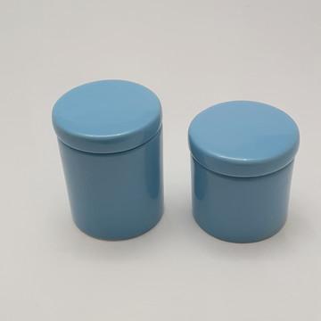 Potes porcelana cotonete algodao azul bebê