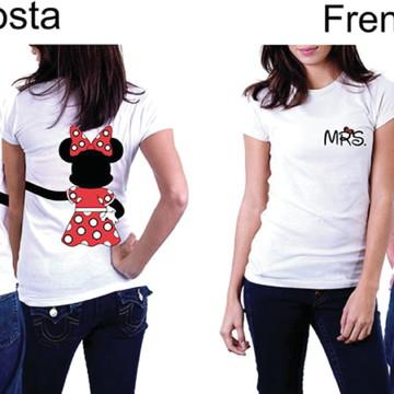 Camiseta Mrs E Mr Mickey E Minnie - Casal Namorados Kit C/02