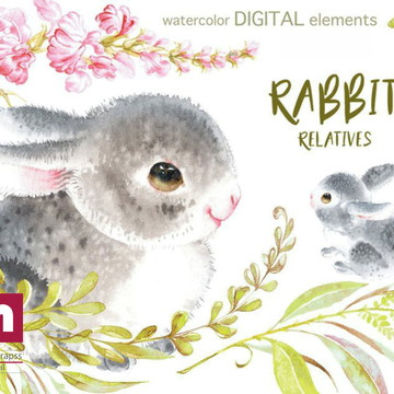 Kit scrapbook digital aquarela coelho