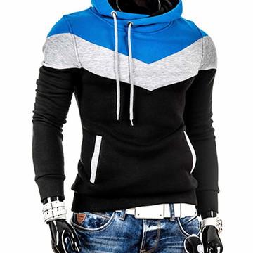Moletom Slim 3 Cores Blusa Com Capuz Azul Casaco Masculino