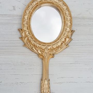 Espelho de Mão Grego Dourado Convites Brindes Lembrancinhas