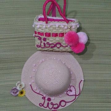 Chapéu e bolsa infantil personalizado
