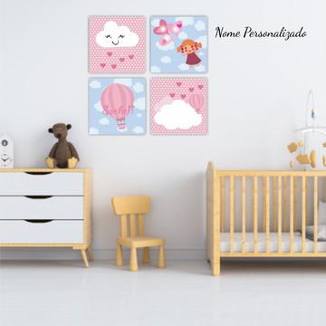Kit Placas Decorativas Balão Menina Quarto Infantil