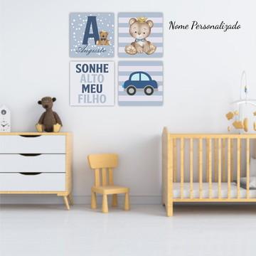 Kit Decorativo Placas Infantil Bebê Menino Quarto