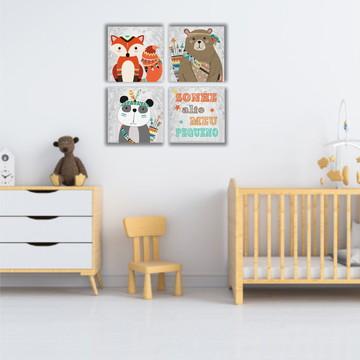 Kit 4 Placas Decorativas Criança Decoração Quarto Infantil