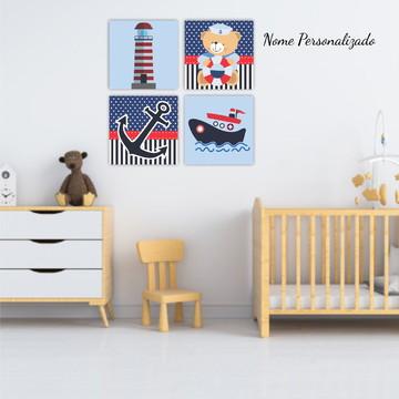 Placas Decorativas Infantil Bebê Urso Marinheiro Decoração