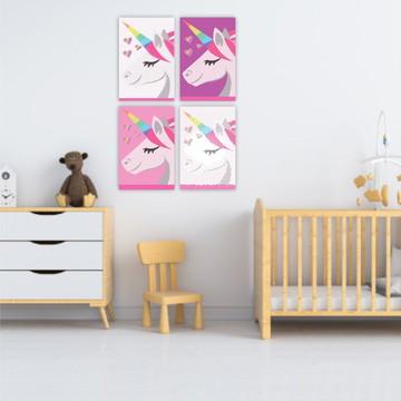 Kit Placas Decorativas Infantil Quarto Decoração Unicórnio