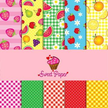 Kit Digital de Papéis Frutas