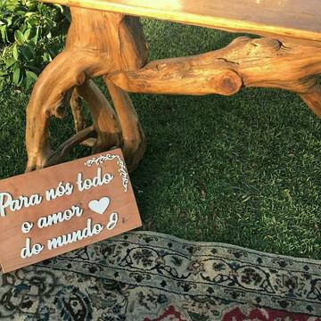 Placa de Casamento em madeira maciça