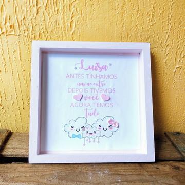 Quadro Maternidade menina chuva de amor bençao rosa