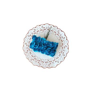 24 mini rosinhas de papel Azul Royal escuro