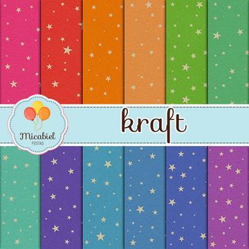 Papel Digital - Kraft (estrelado)