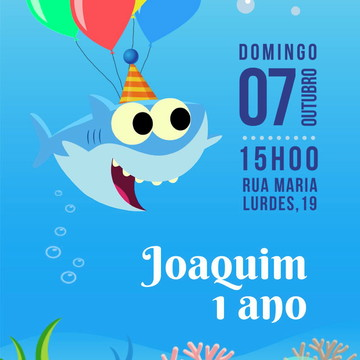 convite arte digital (virtual) tema BABY SHARK song